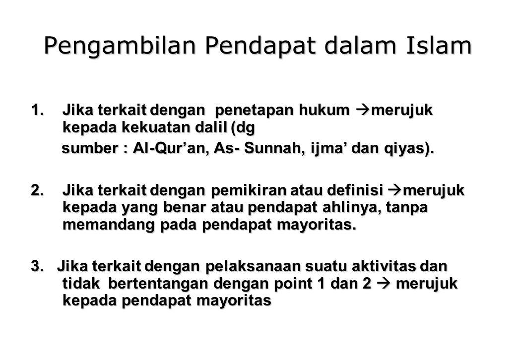 Pengambilan Pendapat dalam Islam 1.Jika terkait dengan penetapan hukum  merujuk kepada kekuatan dalil (dg sumber : Al-Qur'an, As- Sunnah, ijma' dan qiyas).