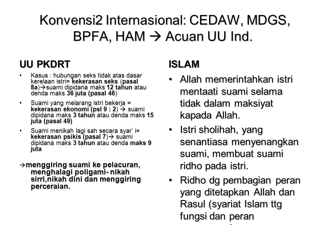 19 Konvensi PBB tentang Gender : CEDAW, BPFA, MDGs, ICPD UU PKDRT Amandemen UU Keshatan (Aborsi) CLD KHI UU Perlind Anak UUTrafiking,Kewarg anegaraan DLL Penolakan2 : RUUAPP, Perda Pelacuran, Perda Syariah (Poligami), Qanun Islam PKDRT di Aceh, Perda Jam Malam di Jatim,Perda Maksiat di Sumbar Penghancuran fiqih keluarga_penghancuran keluarga muslim Partisipasi anak, hak sipil dan kebebasan anak  Ortu tidak punya hak 'memaksa' anak untuk beribadah dan beragama Menggunting ketaatan istri kepada suami_penghancuran keluarga Legalisasi seks bebas kalangan remaja, legalisasi aborsi_tidak mehendaki keluarga muslim punya anak Penghancuran keluarga : memberikan ruang yang luas untuk kemandirian ekonomi perempuan, tidak dihambat aspek perkawinan dengan WNA Liberalisasi seks bebas Penjegalan Syariat Islam dan formalisasi Syariat Islam UU Target Prolegnas Prolegda
