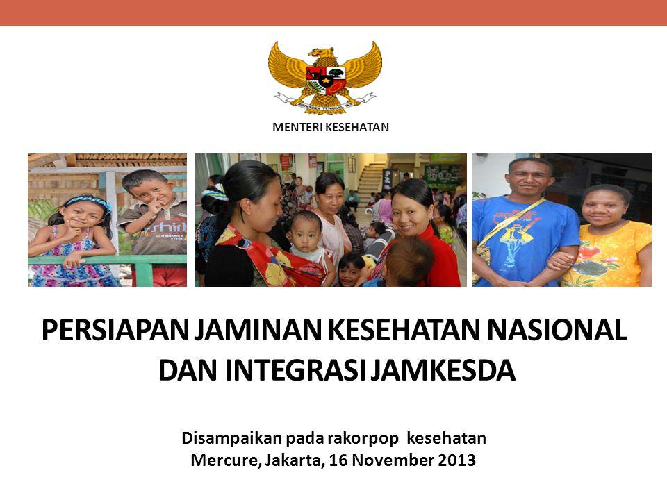 MENTERI KESEHATAN PERSIAPAN JAMINAN KESEHATAN NASIONAL DAN INTEGRASI JAMKESDA Disampaikan pada rakorpop kesehatan Mercure, Jakarta, 16 November 2013
