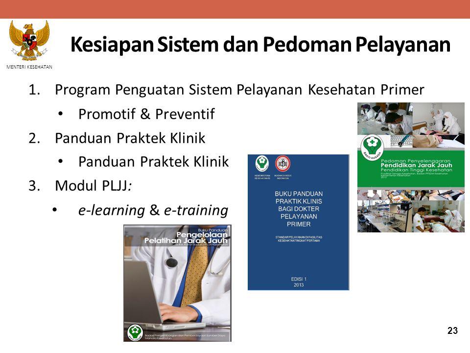 MENTERI KESEHATAN 1.Program Penguatan Sistem Pelayanan Kesehatan Primer Promotif & Preventif 2.Panduan Praktek Klinik Panduan Praktek Klinik 3.Modul P