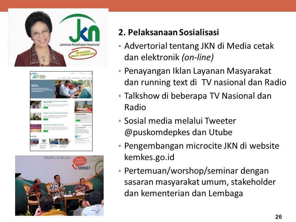 MENTERI KESEHATAN 2. Pelaksanaan Sosialisasi Advertorial tentang JKN di Media cetak dan elektronik (on-line) Penayangan Iklan Layanan Masyarakat dan r
