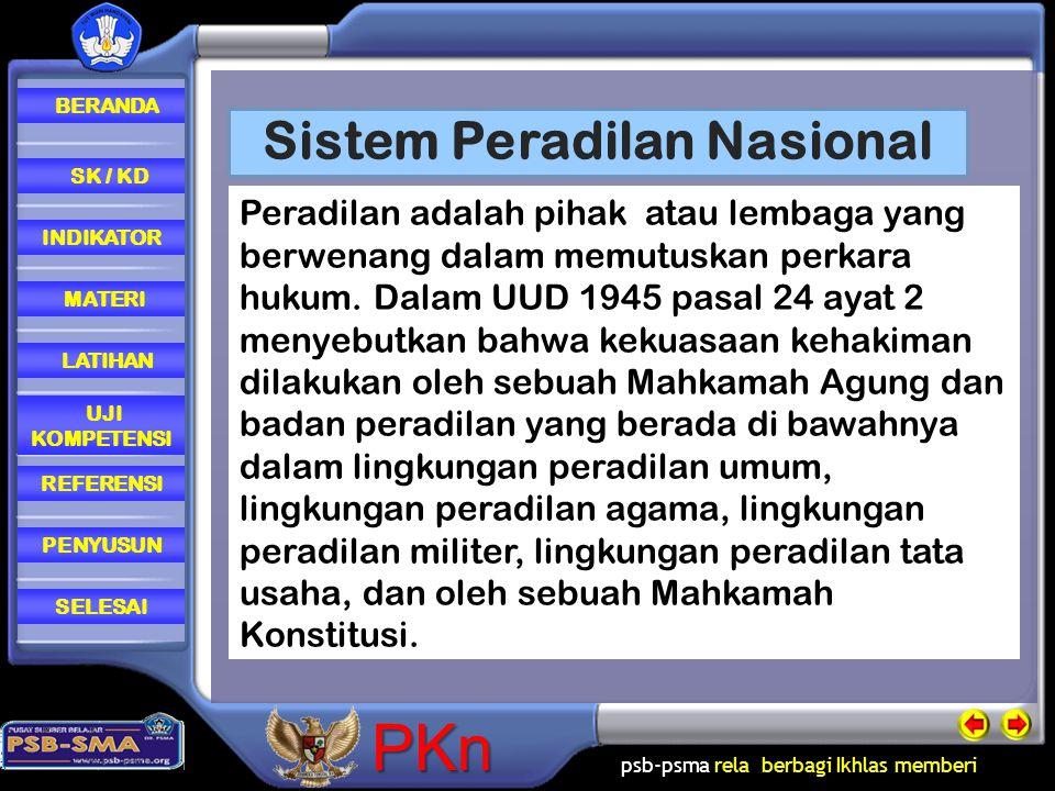 psb-psma rela berbagi Ikhlas memberi REFERENSI LATIHAN MATERI PENYUSUN INDIKATOR SK / KD UJI KOMPETENSI BERANDA SELESAIPKn Sistem Peradilan Nasional P