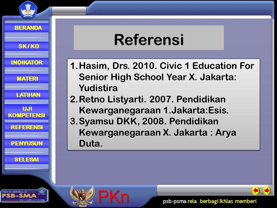 psb-psma rela berbagi Ikhlas memberi REFERENSI LATIHAN MATERI PENYUSUN INDIKATOR SK / KD UJI KOMPETENSI BERANDA SELESAIPKn 1.Hasim, Drs. 2010. Civic 1