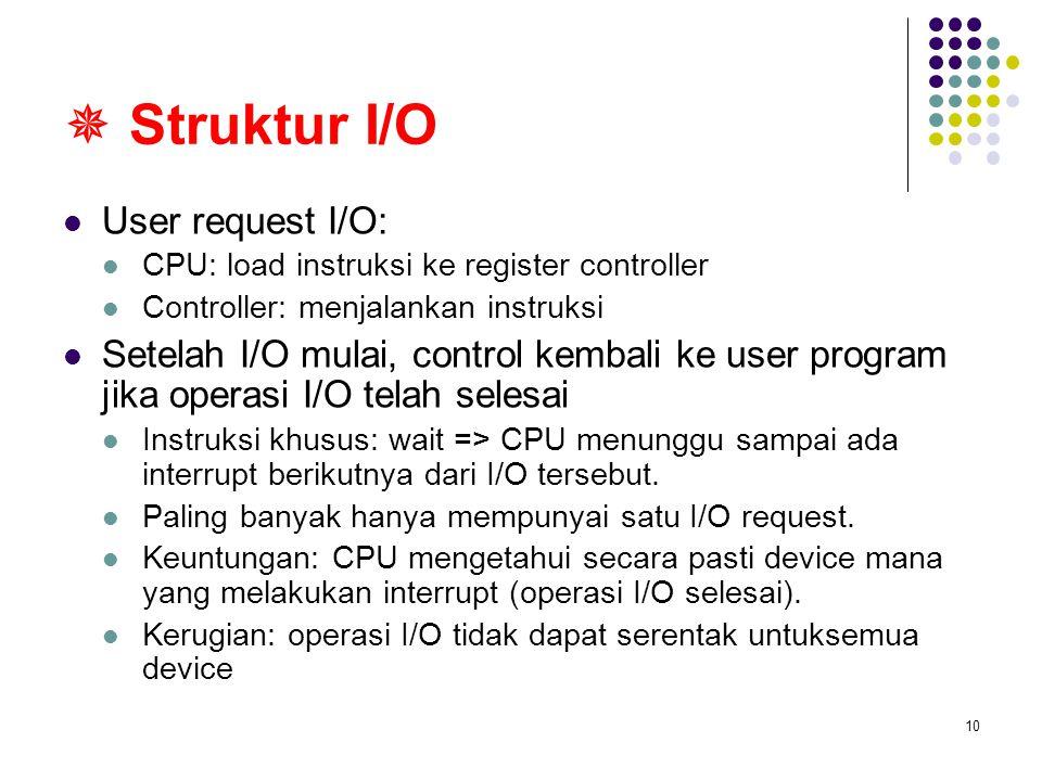10  Struktur I/O User request I/O: CPU: load instruksi ke register controller Controller: menjalankan instruksi Setelah I/O mulai, control kembali ke