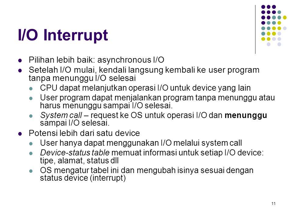 11 I/O Interrupt Pilihan lebih baik: asynchronous I/O Setelah I/O mulai, kendali langsung kembali ke user program tanpa menunggu I/O selesai CPU dapat