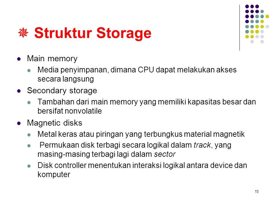 15  Struktur Storage Main memory Media penyimpanan, dimana CPU dapat melakukan akses secara langsung Secondary storage Tambahan dari main memory yang