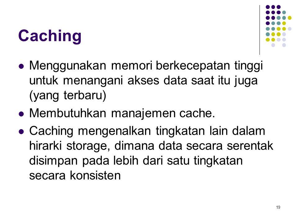 19 Caching Menggunakan memori berkecepatan tinggi untuk menangani akses data saat itu juga (yang terbaru) Membutuhkan manajemen cache. Caching mengena