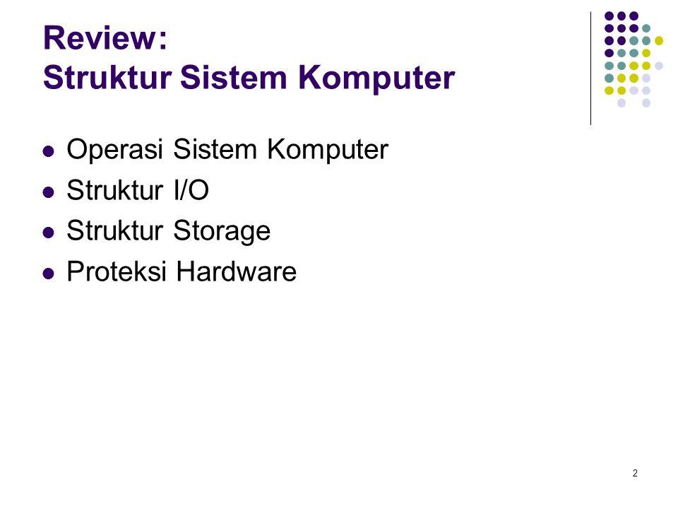 2 Review: Struktur Sistem Komputer Operasi Sistem Komputer Struktur I/O Struktur Storage Proteksi Hardware