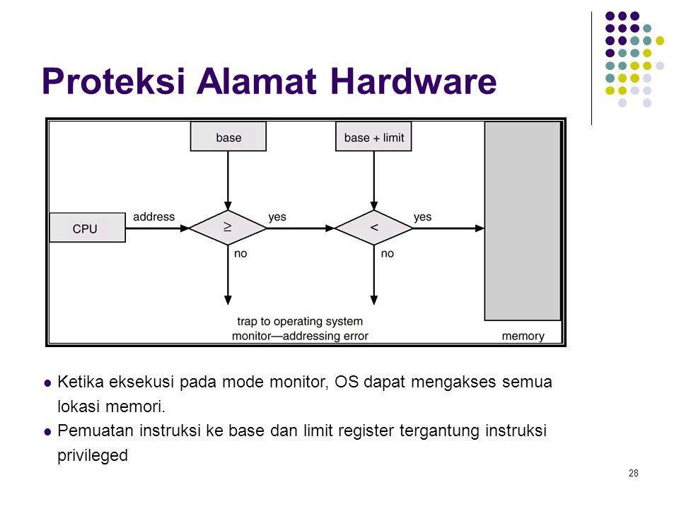 28 Proteksi Alamat Hardware Ketika eksekusi pada mode monitor, OS dapat mengakses semua lokasi memori. Pemuatan instruksi ke base dan limit register t