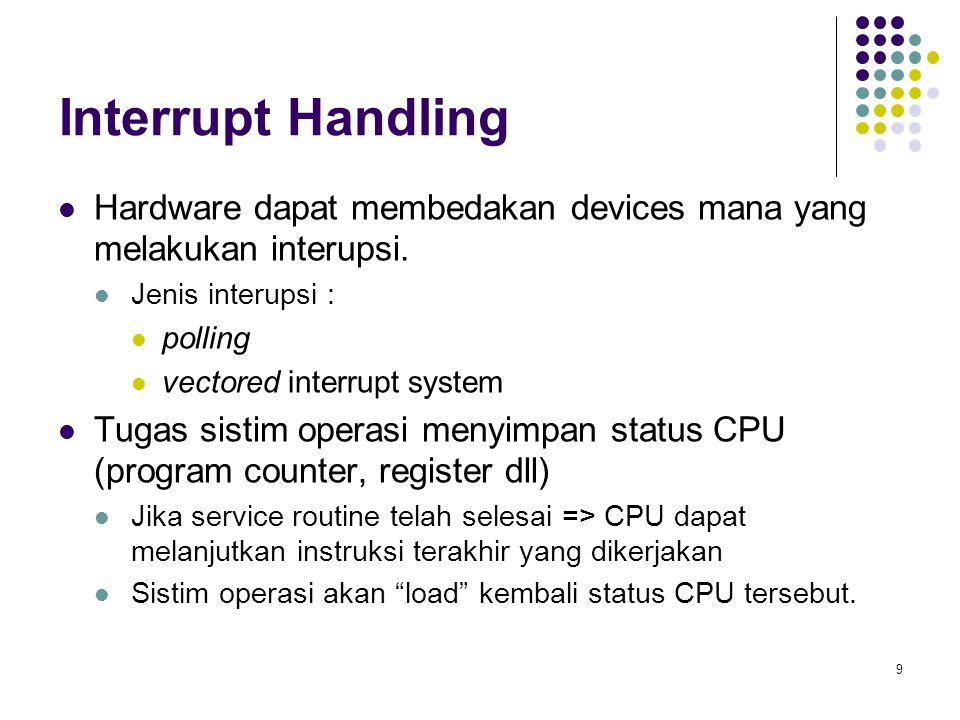 10  Struktur I/O User request I/O: CPU: load instruksi ke register controller Controller: menjalankan instruksi Setelah I/O mulai, control kembali ke user program jika operasi I/O telah selesai Instruksi khusus: wait => CPU menunggu sampai ada interrupt berikutnya dari I/O tersebut.