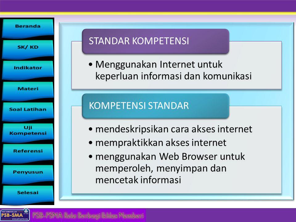 Menggunakan Internet untuk keperluan informasi dan komunikasi STANDAR KOMPETENSI mendeskripsikan cara akses internet mempraktikkan akses internet meng