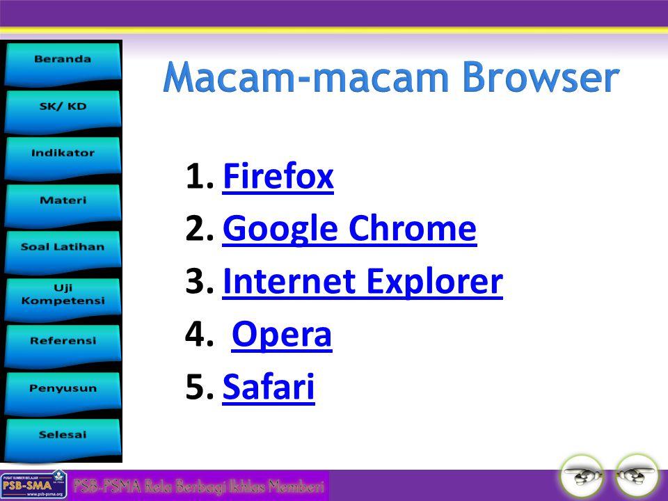 1.FirefoxFirefox 2.Google ChromeGoogle Chrome 3.Internet ExplorerInternet Explorer 4. OperaOpera 5.SafariSafari