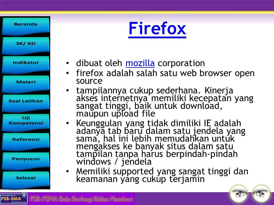 dibuat oleh mozilla corporationmozilla firefox adalah salah satu web browser open source tampilannya cukup sederhana. Kinerja akses internetnya memili