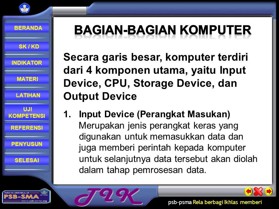 psb-psma Rela berbagi Ikhlas memberi REFERENSI LATIHAN MATERI PENYUSUN INDIKATOR SK / KD UJI KOMPETENSI BERANDA SELESAI Secara garis besar, komputer terdiri dari 4 komponen utama, yaitu Input Device, CPU, Storage Device, dan Output Device 1.Input Device (Perangkat Masukan) Merupakan jenis perangkat keras yang digunakan untuk memasukkan data dan juga memberi perintah kepada komputer untuk selanjutnya data tersebut akan diolah dalam tahap pemrosesan data.