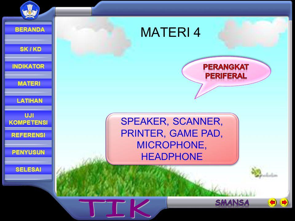 REFERENSI LATIHAN MATERI PENYUSUN INDIKATOR SK / KD UJI KOMPETENSI BERANDA SELESAI LATIHAN 1.Sebutkan 3 contoh perangkat input komputer.