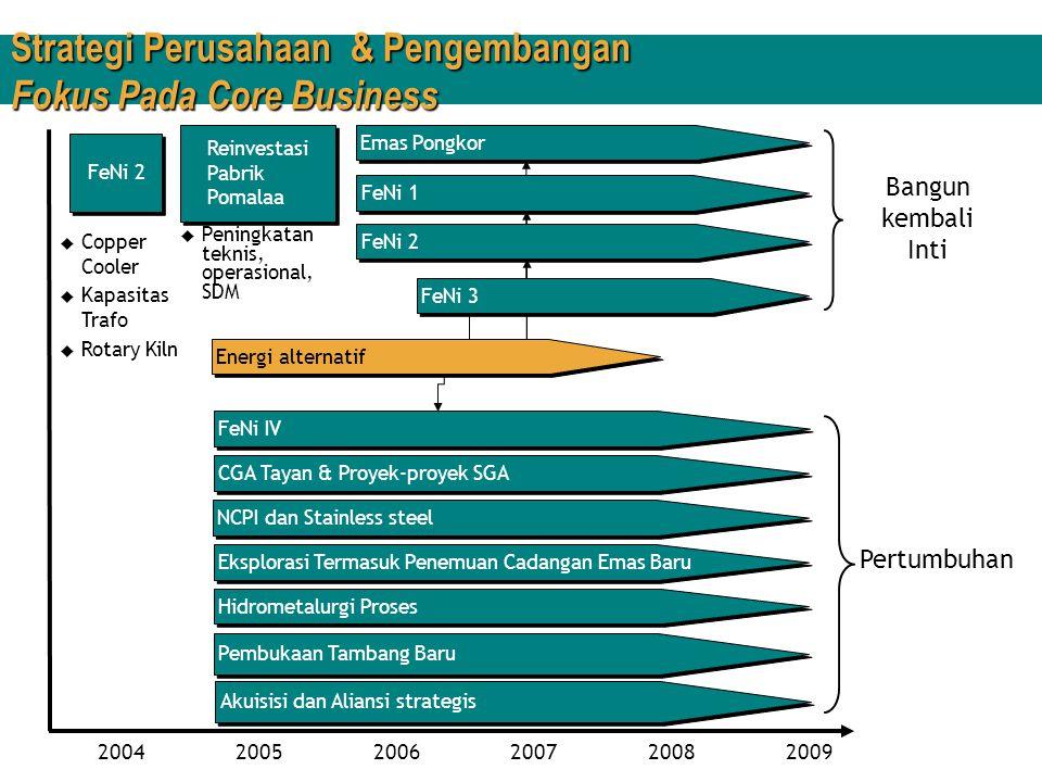 Strategi Perusahaan dan Pengembangan Nikel  Operasi Nikel 1968 – Eksploitasi Pomalaa dimulai 1974 – 1976 – Konstruksi & Commissioning FeNi-I (Cap.