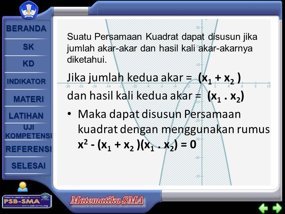 BERANDA SK KD INDIKATOR MATERI LATIHAN UJI KOMPETENSI UJI KOMPETENSI SELESAI REFERENSI Jika jumlah kedua akar = (x 1 + x 2 ) dan hasil kali kedua akar