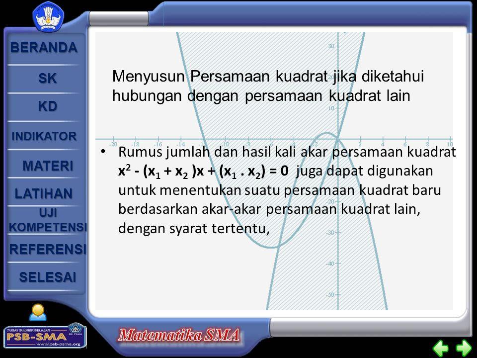BERANDA SK KD INDIKATOR MATERI LATIHAN UJI KOMPETENSI UJI KOMPETENSI SELESAI REFERENSI Rumus jumlah dan hasil kali akar persamaan kuadrat x 2 - (x 1 +