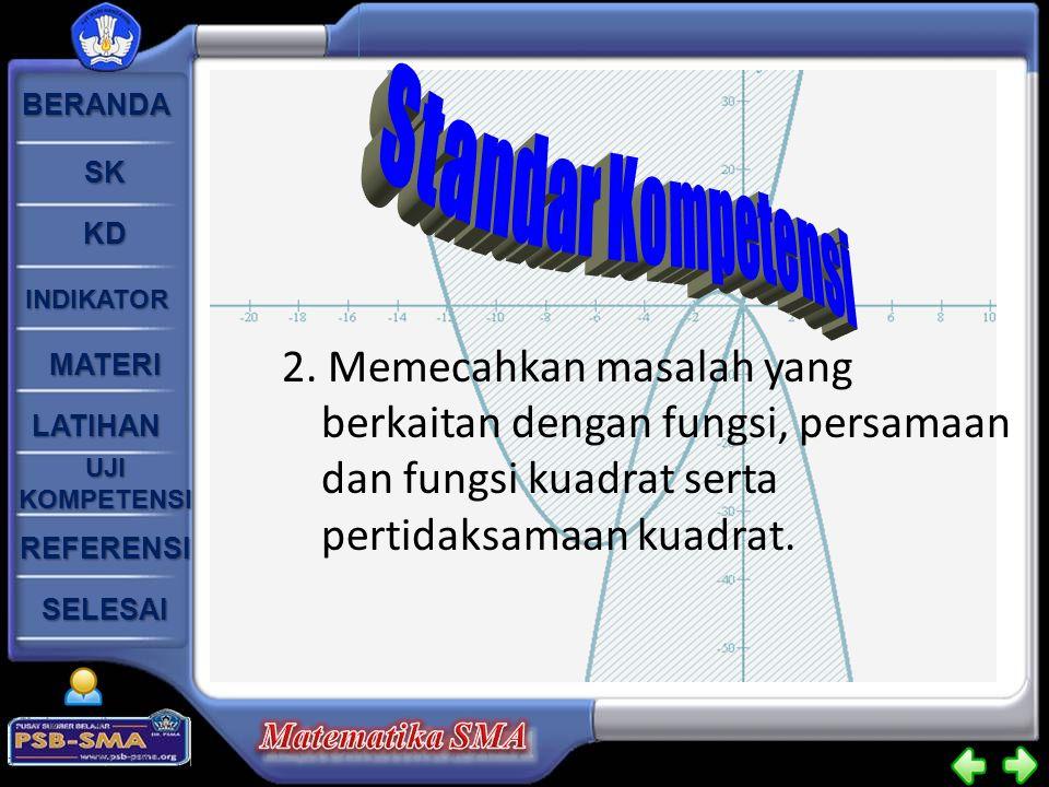 BERANDA SK KD INDIKATOR MATERI LATIHAN UJI KOMPETENSI UJI KOMPETENSI SELESAI REFERENSI 2. Memecahkan masalah yang berkaitan dengan fungsi, persamaan d