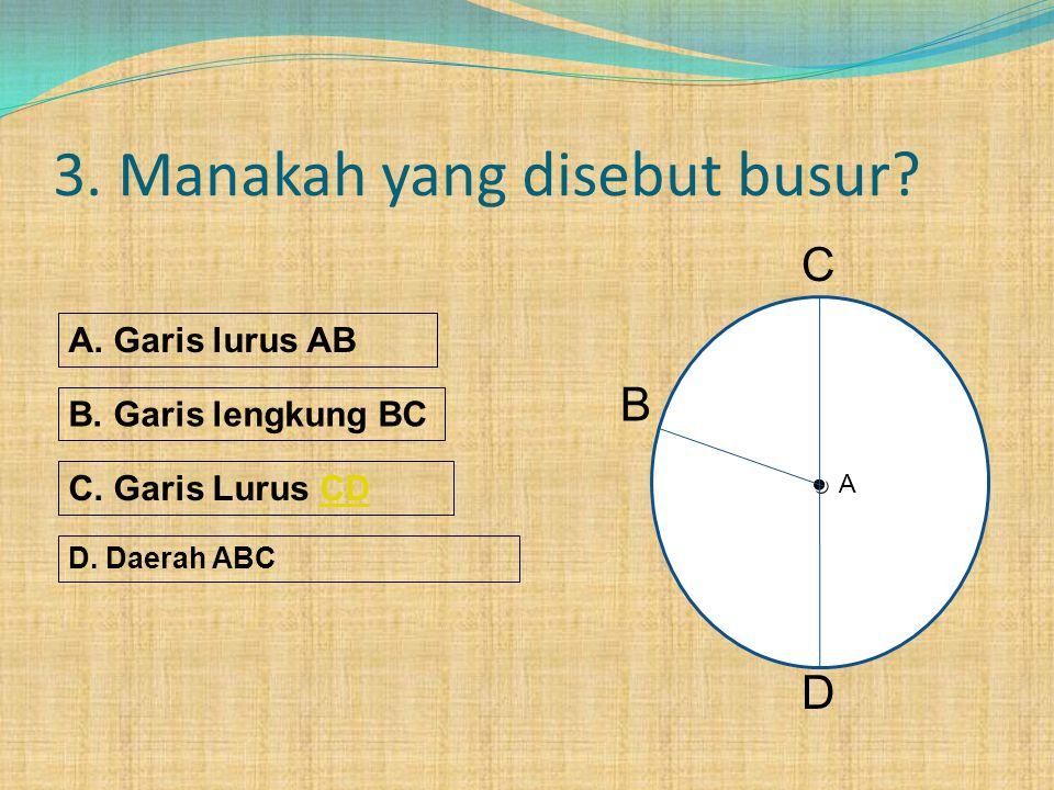 2. Manakah yang disebut diameter. A. Garis lurus AB B.