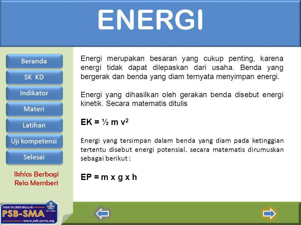 Ikhlas Berbagi Rela Memberi ENERGI Energi merupakan besaran yang cukup penting, karena energi tidak dapat dilepaskan dari usaha. Benda yang bergerak d