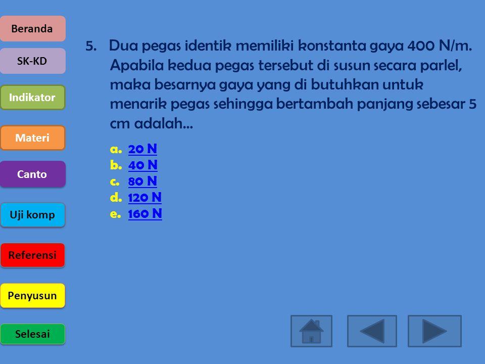 Beranda SK-KD Indikator Materi Uji komp Referensi Penyusun Selesai Canto 5. Dua pegas identik memiliki konstanta gaya 400 N/m. Apabila kedua pegas ter