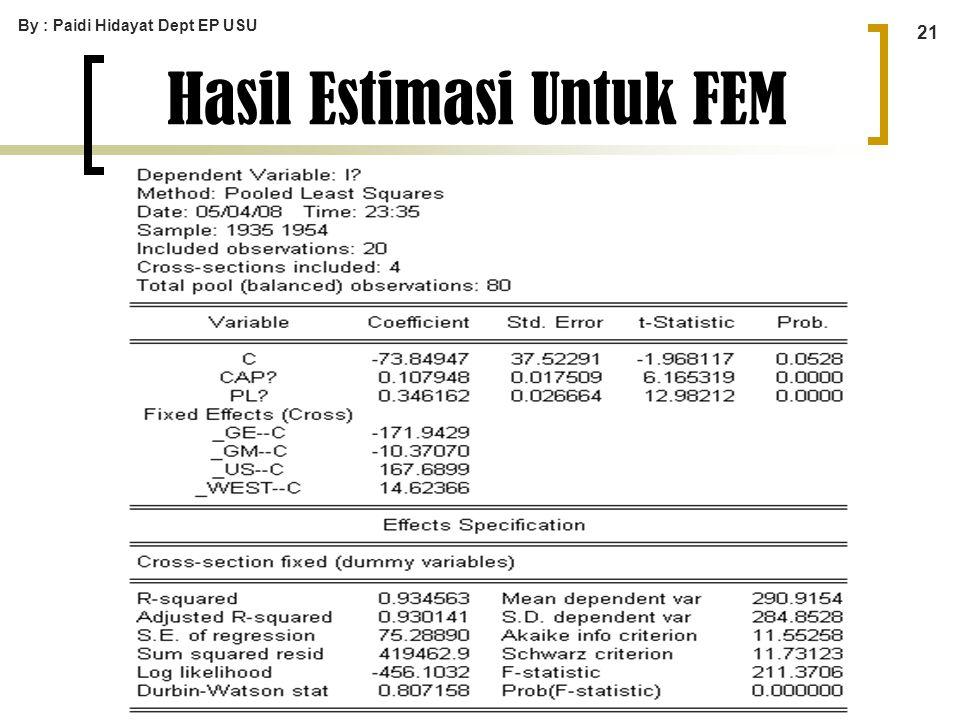 By : Paidi Hidayat Dept EP USU 21 Hasil Estimasi Untuk FEM