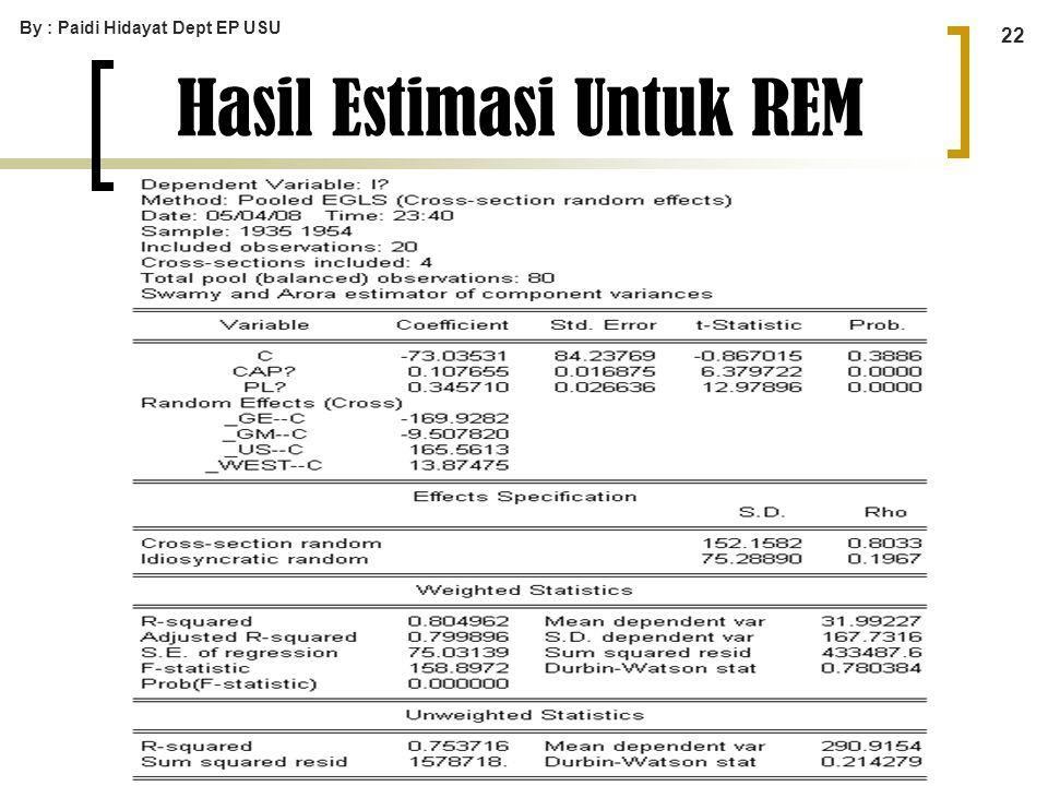 By : Paidi Hidayat Dept EP USU 22 Hasil Estimasi Untuk REM