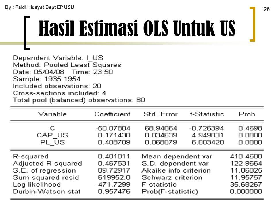 By : Paidi Hidayat Dept EP USU 26 Hasil Estimasi OLS Untuk US