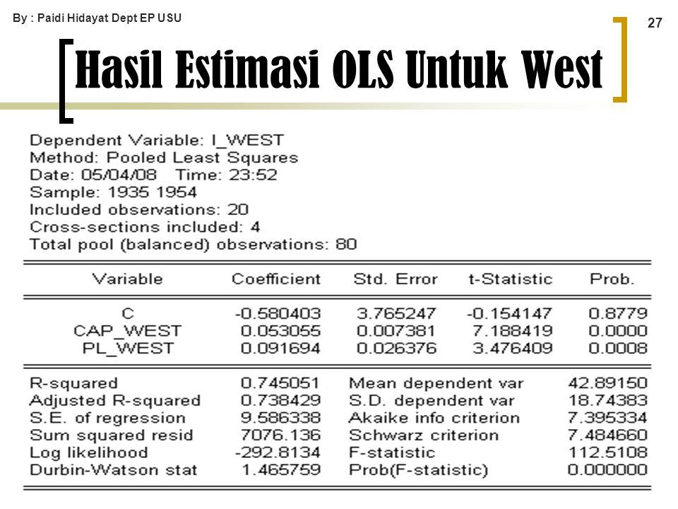 By : Paidi Hidayat Dept EP USU 27 Hasil Estimasi OLS Untuk West