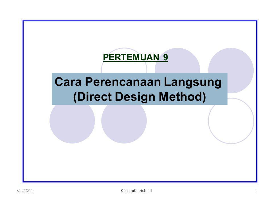 8/20/2014Konstruksi Beton II1 PERTEMUAN 9 Cara Perencanaan Langsung (Direct Design Method)