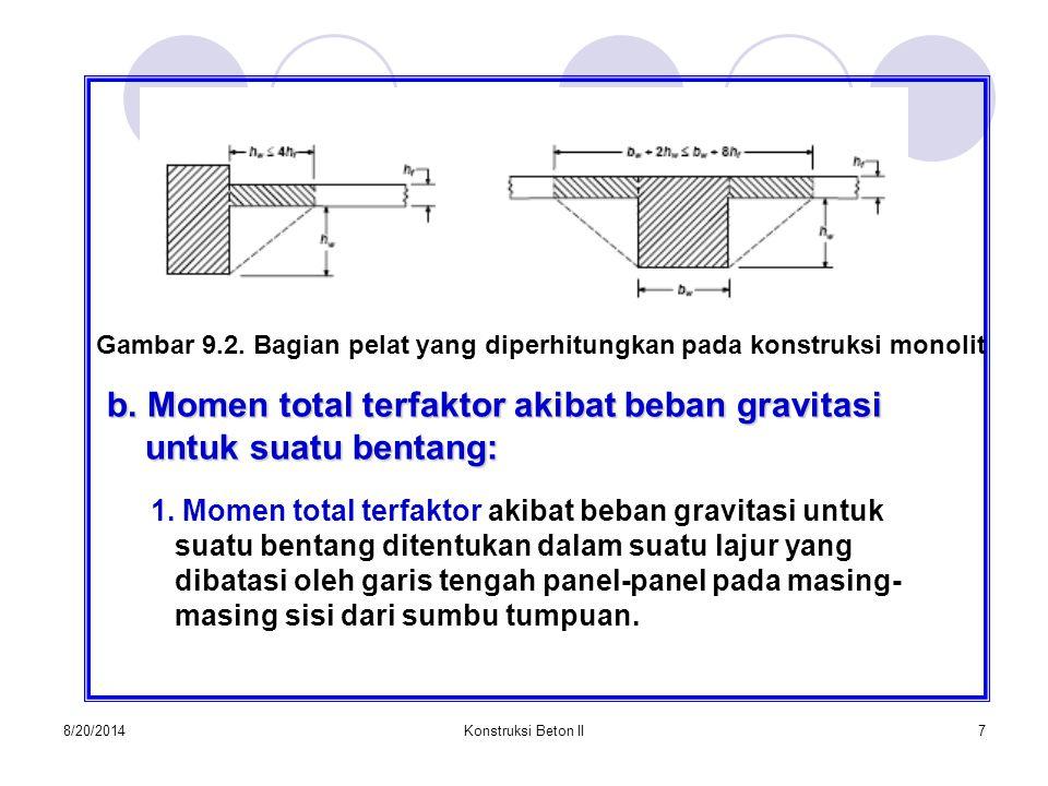 8/20/2014Konstruksi Beton II7 Gambar 9.2. Bagian pelat yang diperhitungkan pada konstruksi monolit b. Momen total terfaktor akibat beban gravitasi unt