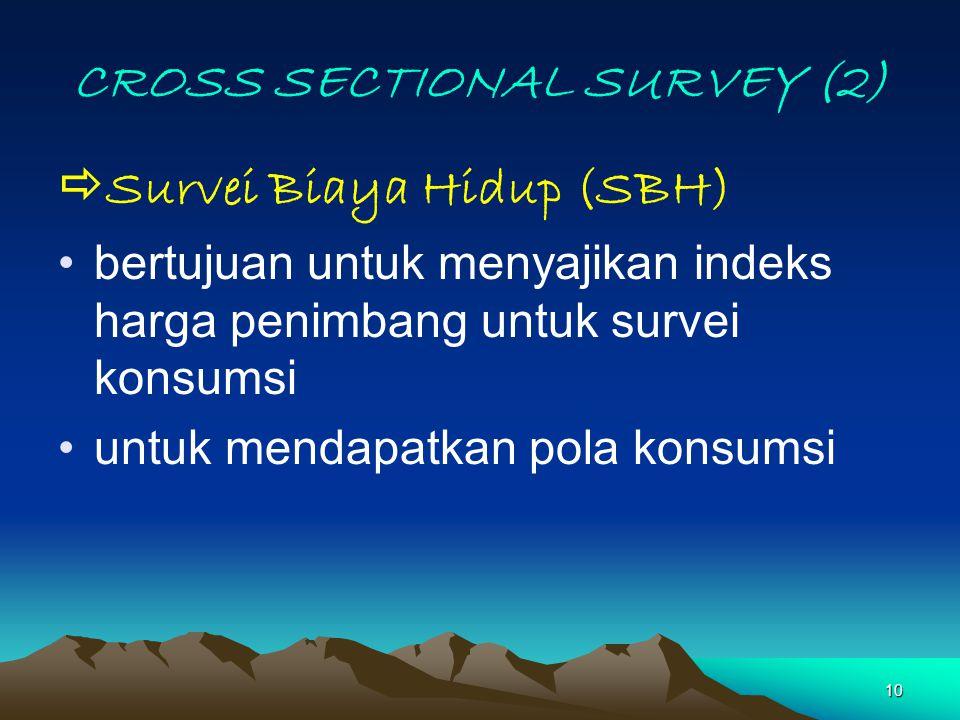 10 CROSS SECTIONAL SURVEY (2)  Survei Biaya Hidup (SBH) bertujuan untuk menyajikan indeks harga penimbang untuk survei konsumsi untuk mendapatkan pol