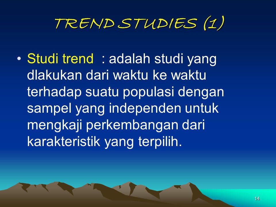 14 TREND STUDIES (1) Studi trend : adalah studi yang dlakukan dari waktu ke waktu terhadap suatu populasi dengan sampel yang independen untuk mengkaji
