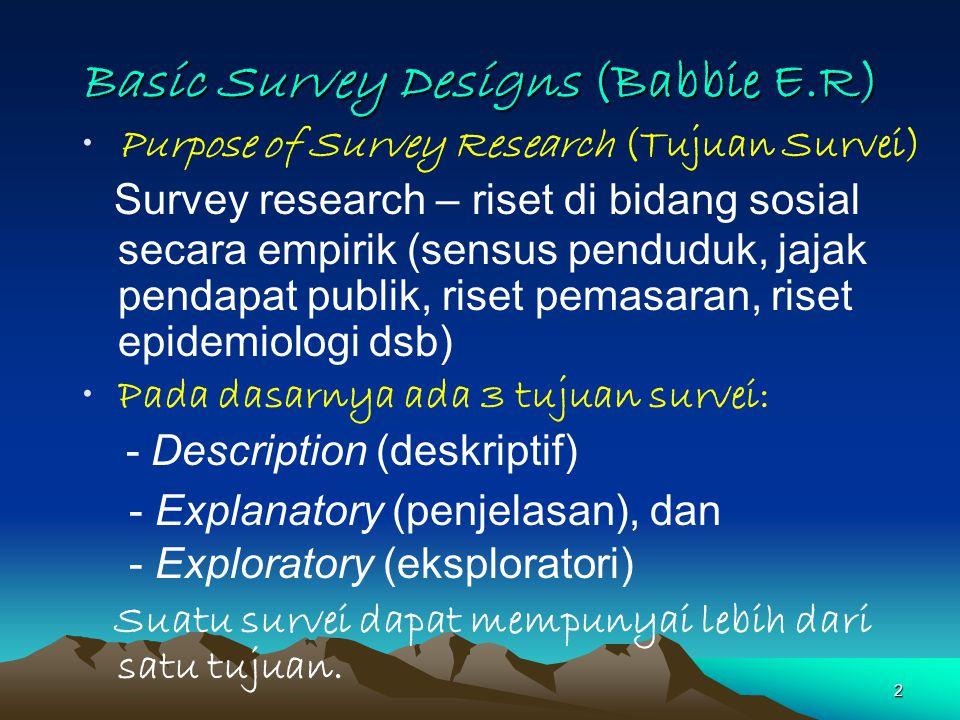 2 Basic Survey Designs (Babbie E.R) Purpose of Survey Research (Tujuan Survei) Survey research – riset di bidang sosial secara empirik (sensus pendudu