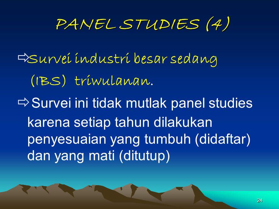 24 PANEL STUDIES (4) PANEL STUDIES (4)  Survei industri besar sedang (IBS) triwulanan.  Survei ini tidak mutlak panel studies karena setiap tahun di