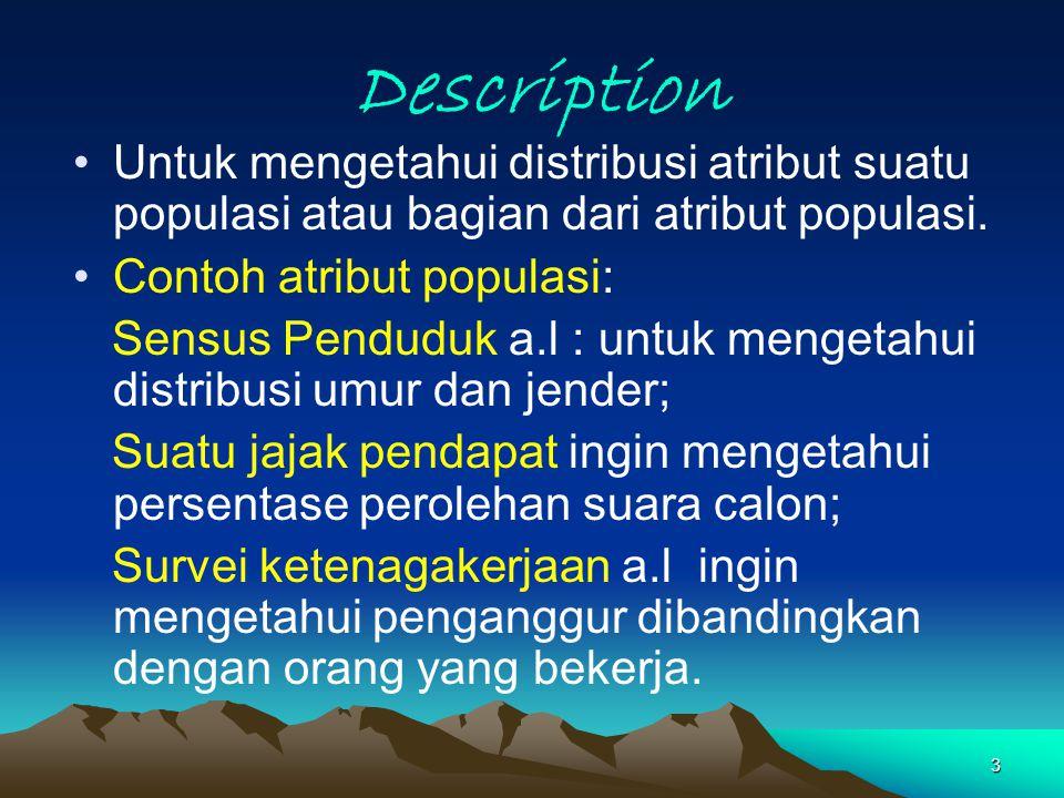 3 Description Untuk mengetahui distribusi atribut suatu populasi atau bagian dari atribut populasi. Contoh atribut populasi: Sensus Penduduk a.l : unt