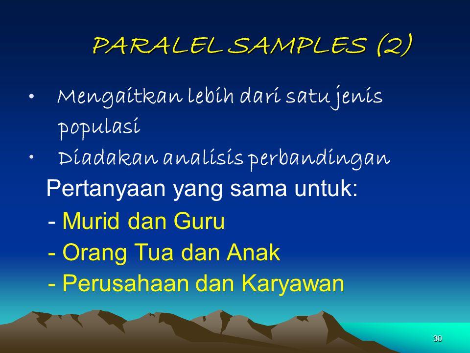 30 PARALEL SAMPLES (2) PARALEL SAMPLES (2) Mengaitkan lebih dari satu jenis populasi Diadakan analisis perbandingan Pertanyaan yang sama untuk: - Muri