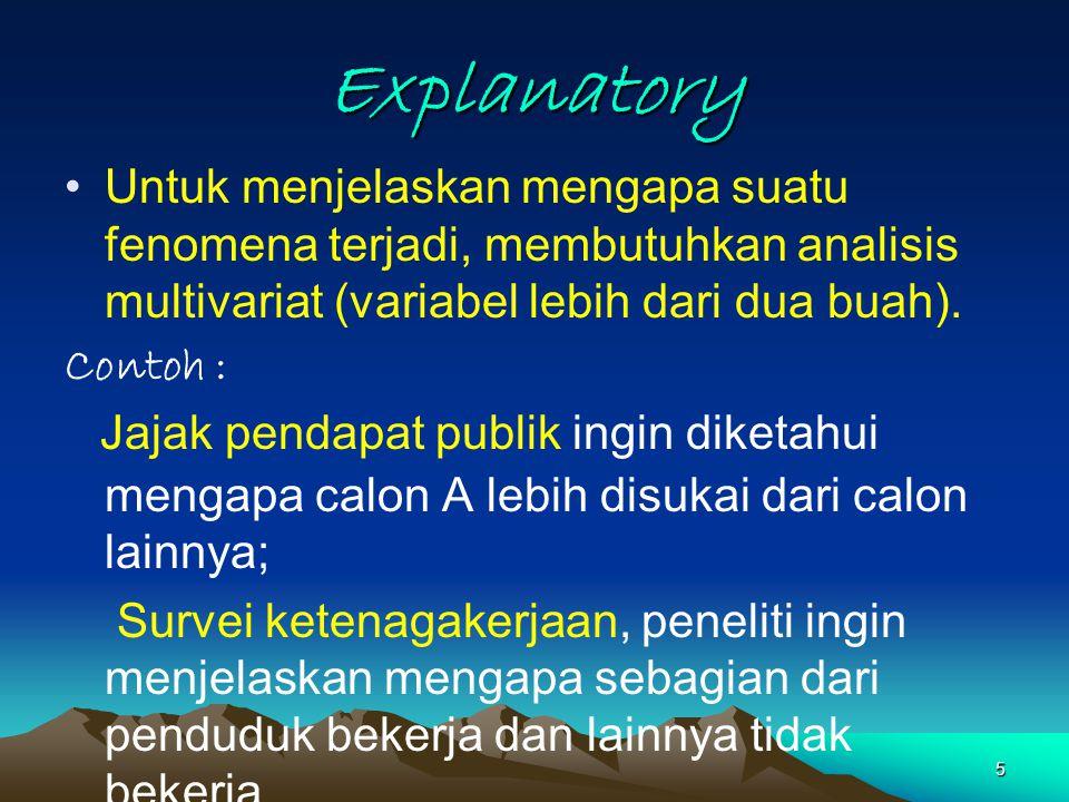 5 Explanatory Untuk menjelaskan mengapa suatu fenomena terjadi, membutuhkan analisis multivariat (variabel lebih dari dua buah). Contoh : Jajak pendap