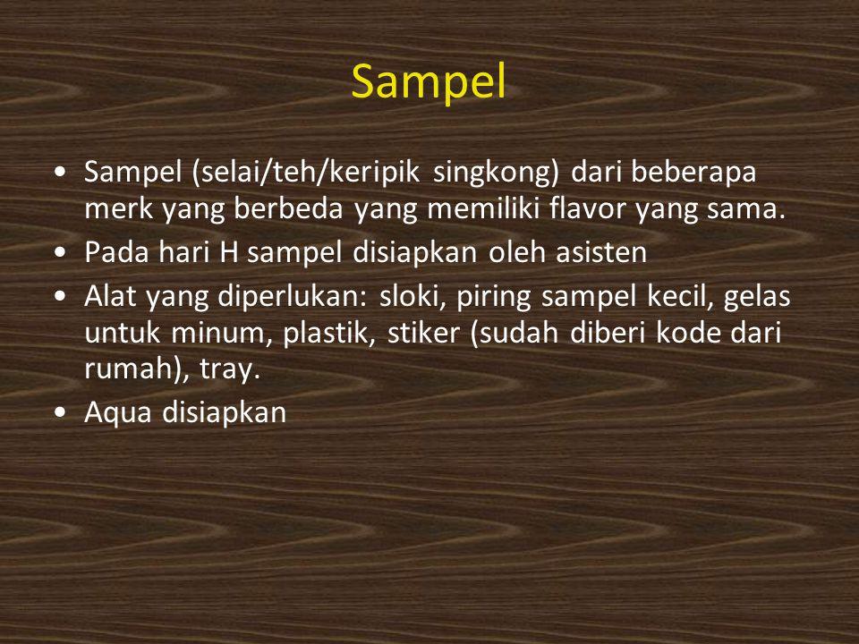 Sampel Sampel (selai/teh/keripik singkong) dari beberapa merk yang berbeda yang memiliki flavor yang sama.