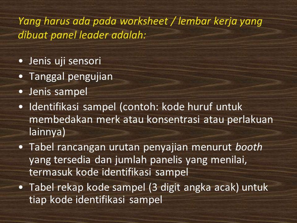 Yang harus ada pada worksheet / lembar kerja yang dibuat panel leader adalah: Jenis uji sensori Tanggal pengujian Jenis sampel Identifikasi sampel (contoh: kode huruf untuk membedakan merk atau konsentrasi atau perlakuan lainnya) Tabel rancangan urutan penyajian menurut booth yang tersedia dan jumlah panelis yang menilai, termasuk kode identifikasi sampel Tabel rekap kode sampel (3 digit angka acak) untuk tiap kode identifikasi sampel