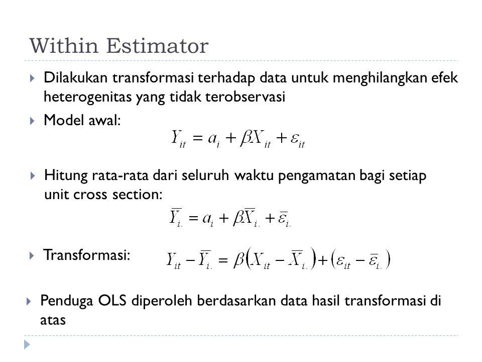Within Estimator  Dilakukan transformasi terhadap data untuk menghilangkan efek heterogenitas yang tidak terobservasi  Model awal:  Hitung rata-rata dari seluruh waktu pengamatan bagi setiap unit cross section:  Transformasi:  Penduga OLS diperoleh berdasarkan data hasil transformasi di atas