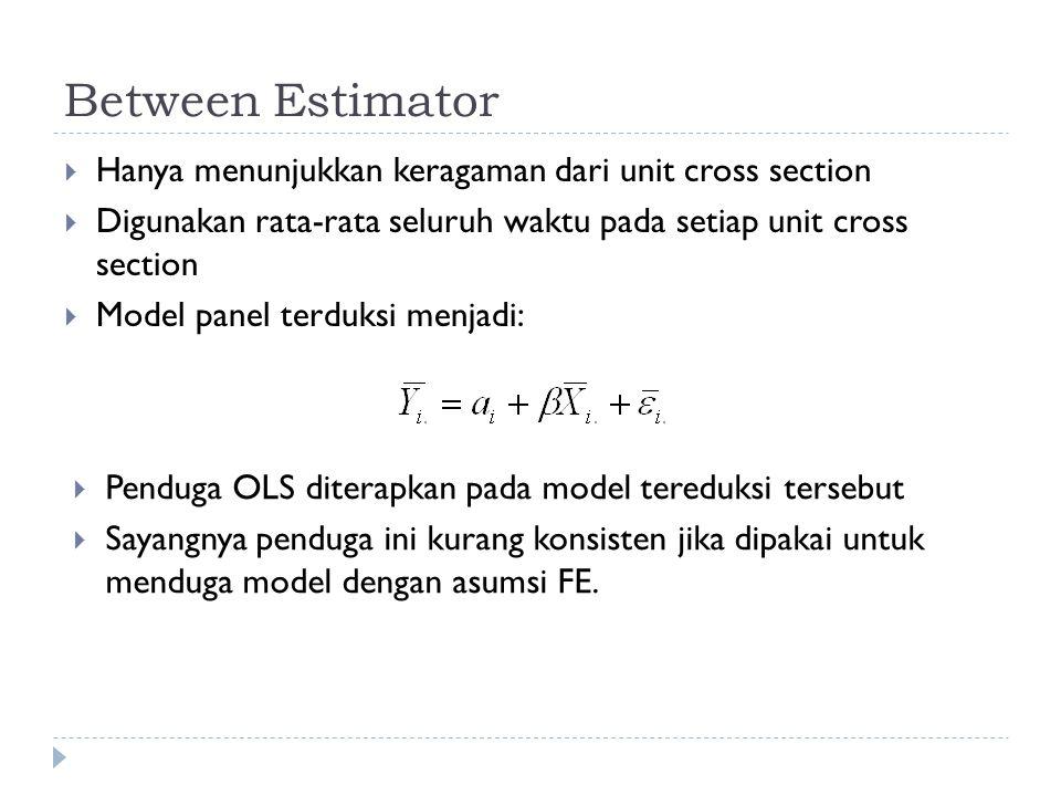 Between Estimator  Hanya menunjukkan keragaman dari unit cross section  Digunakan rata-rata seluruh waktu pada setiap unit cross section  Model panel terduksi menjadi:  Penduga OLS diterapkan pada model tereduksi tersebut  Sayangnya penduga ini kurang konsisten jika dipakai untuk menduga model dengan asumsi FE.