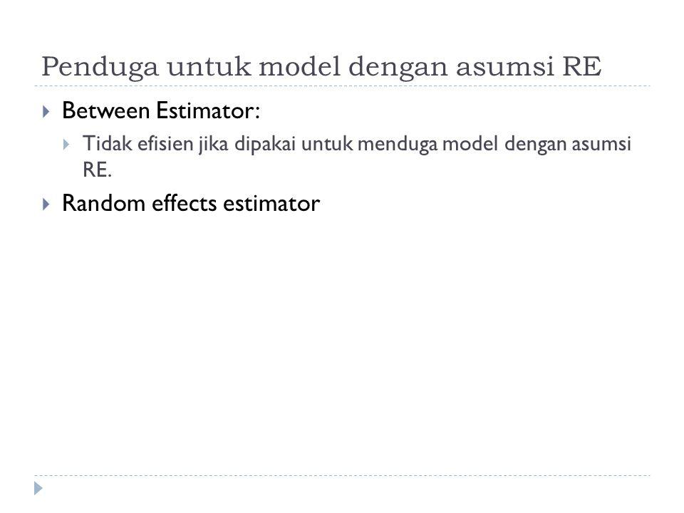 Penduga untuk model dengan asumsi RE  Between Estimator:  Tidak efisien jika dipakai untuk menduga model dengan asumsi RE.