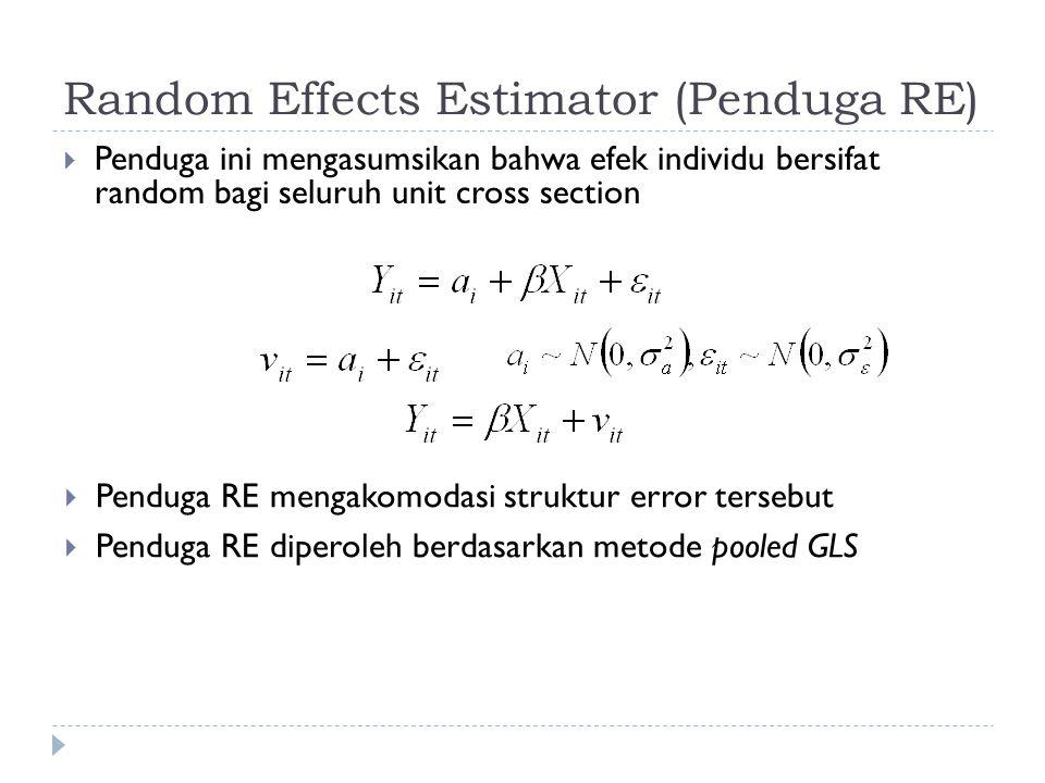 Random Effects Estimator (Penduga RE)  Penduga ini mengasumsikan bahwa efek individu bersifat random bagi seluruh unit cross section  Penduga RE mengakomodasi struktur error tersebut  Penduga RE diperoleh berdasarkan metode pooled GLS