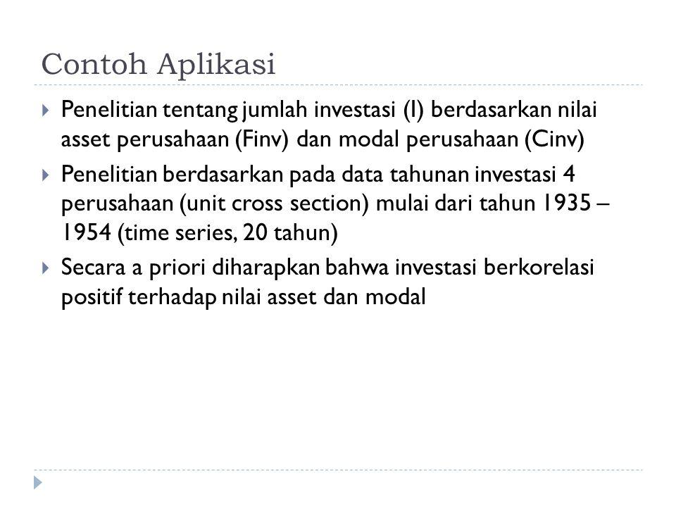 Contoh Aplikasi  Penelitian tentang jumlah investasi (I) berdasarkan nilai asset perusahaan (Finv) dan modal perusahaan (Cinv)  Penelitian berdasarkan pada data tahunan investasi 4 perusahaan (unit cross section) mulai dari tahun 1935 – 1954 (time series, 20 tahun)  Secara a priori diharapkan bahwa investasi berkorelasi positif terhadap nilai asset dan modal