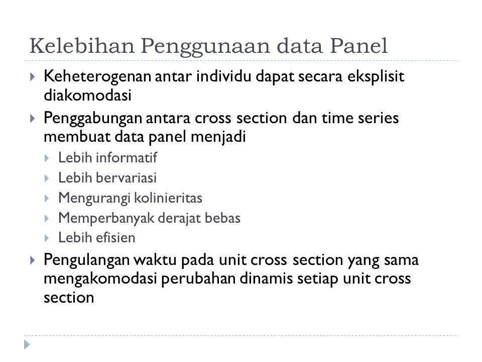Kelebihan Penggunaan data Panel  Keheterogenan antar individu dapat secara eksplisit diakomodasi  Penggabungan antara cross section dan time series membuat data panel menjadi  Lebih informatif  Lebih bervariasi  Mengurangi kolinieritas  Memperbanyak derajat bebas  Lebih efisien  Pengulangan waktu pada unit cross section yang sama mengakomodasi perubahan dinamis setiap unit cross section