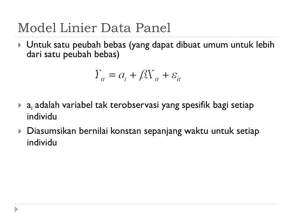 Model Linier Data Panel  Untuk satu peubah bebas (yang dapat dibuat umum untuk lebih dari satu peubah bebas)  a i adalah variabel tak terobservasi yang spesifik bagi setiap individu  Diasumsikan bernilai konstan sepanjang waktu untuk setiap individu