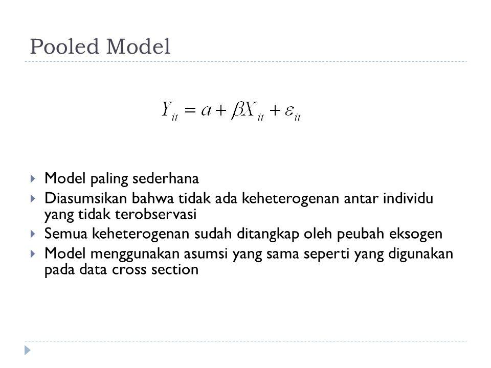 Pooled Model  Model paling sederhana  Diasumsikan bahwa tidak ada keheterogenan antar individu yang tidak terobservasi  Semua keheterogenan sudah ditangkap oleh peubah eksogen  Model menggunakan asumsi yang sama seperti yang digunakan pada data cross section