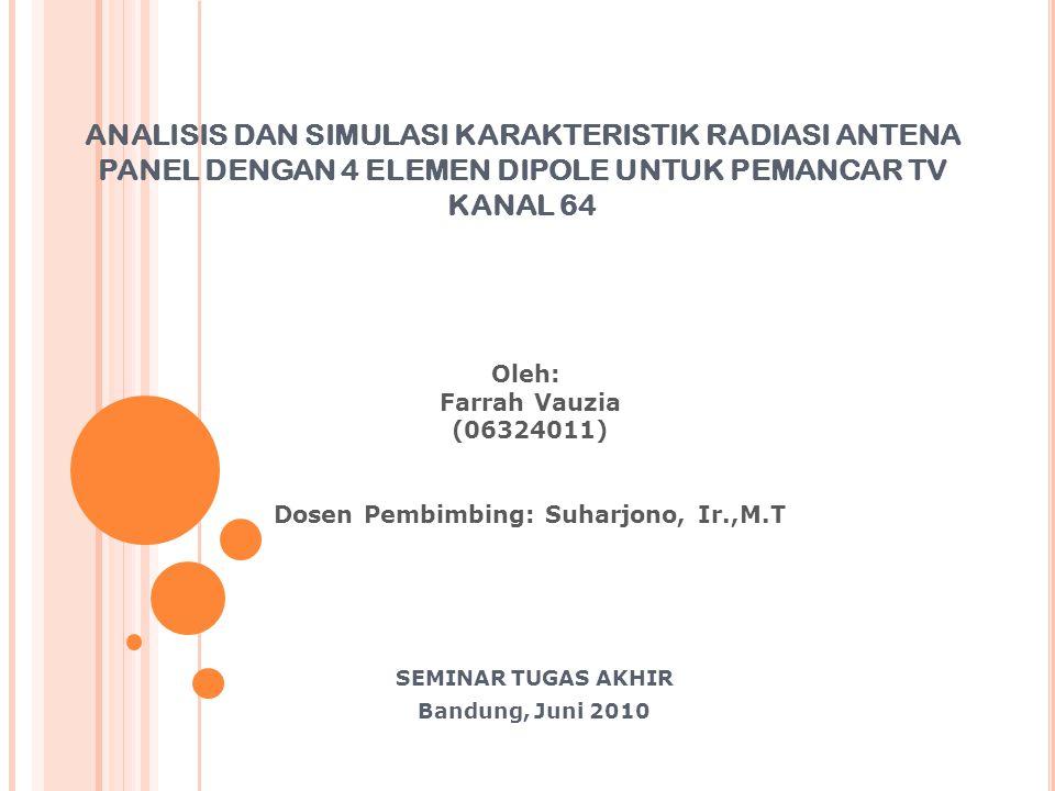 ANALISIS DAN SIMULASI KARAKTERISTIK RADIASI ANTENA PANEL DENGAN 4 ELEMEN DIPOLE UNTUK PEMANCAR TV KANAL 64 SEMINAR TUGAS AKHIR Bandung, Juni 2010 Oleh
